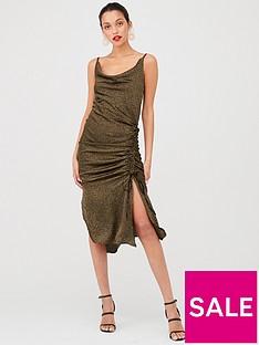 ax-paris-ruched-satin-dress-khaki