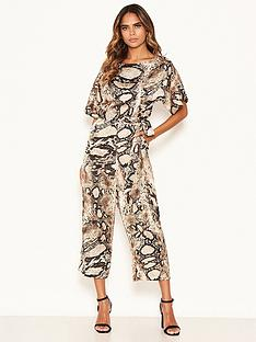 ax-paris-petite-snake-print-belted-jumpsuit-stone