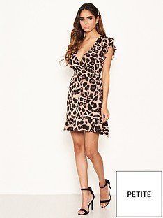 ax-paris-petite-belted-d-ring-animal-print-dress-brown