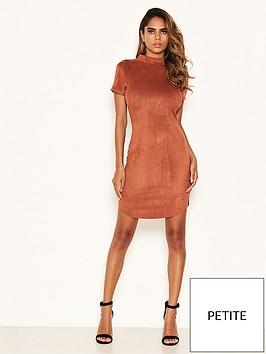 ax-paris-petite-faux-suede-high-neck-mini-dress-rust