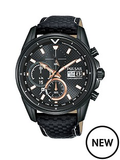 pulsar-pulsar-solar-accelerator-black-and-rose-gold-detail-chronograph-dial-black-leather-strap-mens-watch