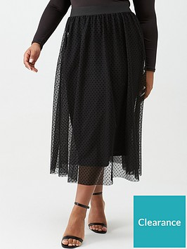 v-by-very-curve-tulle-mesh-spot-skirt-black