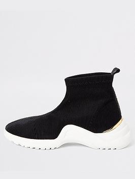 river-island-girls-corduroy-sock-runner-trainers-black