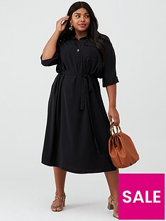 v-by-very-curve-crepe-pocket-shirt-dress-black