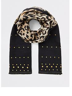river-island-river-island-leopard-and-stud-print-scarf-brown