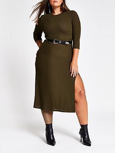 ri-plus-ri-plus-split-detail-woven-midi-dress-khaki