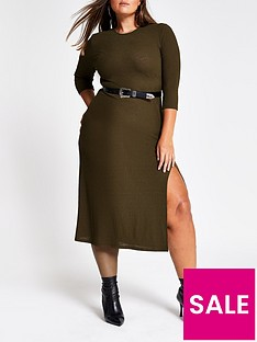 ri-plus-ri-plus-split-detail-woven-midi-dress-khaki