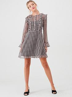river-island-river-island-dogtooth-printed-tea-dress-pink