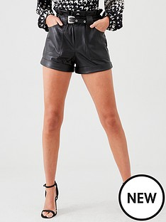 river-island-river-island-faux-leather-mom-short-black