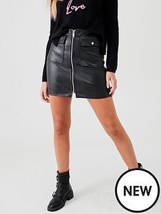 river-island-river-island-pu-croc-biker-mini-skirt-black