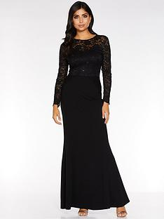 quiz-quiz-sequin-lace-scallop-insert-long-sleeve-maxi-dress
