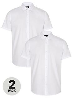 v-by-very-2-pack-short-sleeved-button-down-oxford-shirt-white