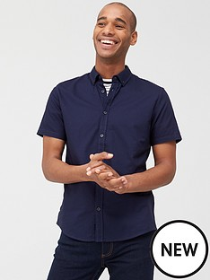 v-by-very-short-sleeved-button-down-oxford-shirt-navy