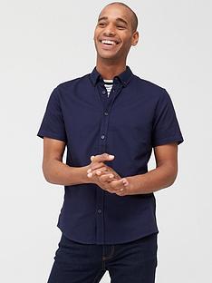 prod1089305494: Short Sleeved Button Down Oxford Shirt - Navy