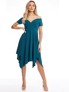 quiz-scuba-crepe-hanky-hem-dress
