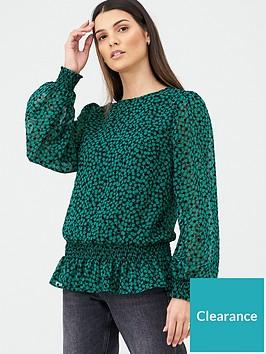 v-by-very-shirred-hem-blouson-blouse-green