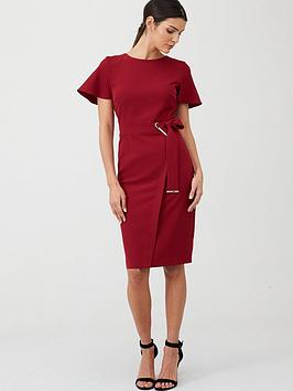 v-by-very-angel-sleeve-pencil-dress-berry