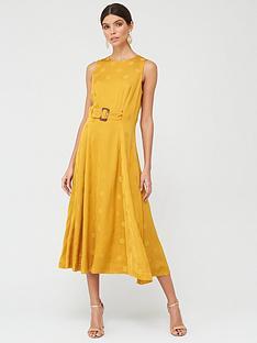 prod1089376474: A Line Belted Midi Dress - Yellow