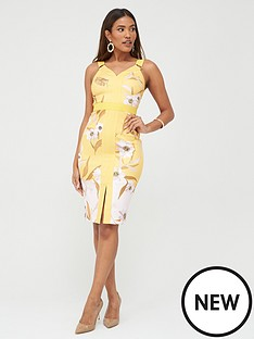 ted-baker-cabana-panel-bodycon-dress-yellow