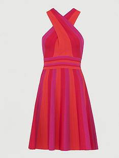 ted-baker-crossover-knitted-skater-dress-pink