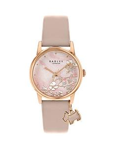 radley-radley-pink-mother-of-pearl-floral-dialwith-dog-charm-and-lilac-leather-strap-ladies-watch