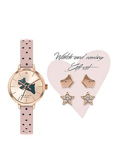 radley-radley-white-and-rose-gold-detail-dial-blush-star-print-leather-strap-ladies-watch-and-rose-gold-earrings-gift-set