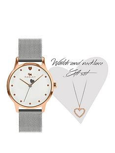 radley-radley-rose-gold-detail-dial-stainless-steel-mesh-strap-ladies-watch-and-rose-gold-crystal-heart-pendant-necklace-set