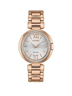 citizen-citizen-eco-drive-silver-sunray-dial-and-diamond-encrusted-dial-rose-gold-stainless-steel-bracelet-ladies-watch
