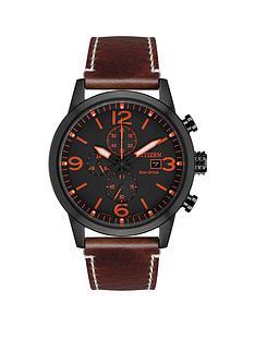 citizen-citizen-eco-drive-wr100-black-and-orange-detail-chronograph-dial-brown-leather-strap-mens-watch