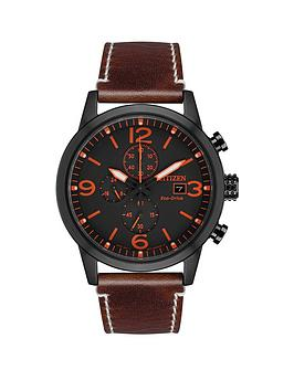 citizen-citizen-eco-drive-wr100-black-and-orange-detail-chronograph-dial-brown-leather-strap-mens-watch
