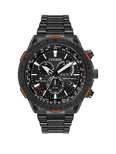 citizen-citizen-eco-drive-radio-controlled-black-and-orange-detail-chronograph-dial-black-ip-stainless-steel-bracelet-mens-watch