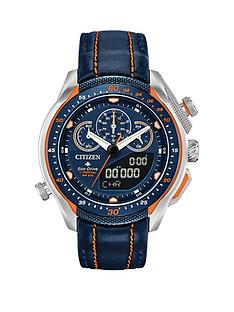 citizen-citizen-eco-drive-promaster-black-and-orange-detail-chronograph-dial-orange-stiched-black-leather-strap-mens-watch