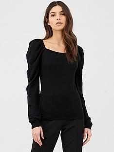 v-by-very-puff-sleeve-square-neck-knitted-top-black
