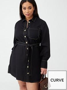 v-by-very-curve-contrast-stitch-denim-look-dress-black