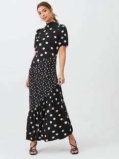 v-by-very-mixed-print-asymmetric-seam-midaxi-dress-polka-dot