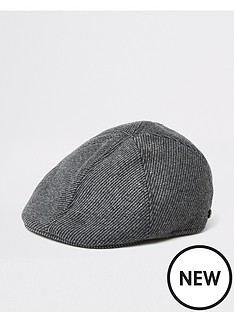 river-island-dark-grey-herringbone-flat-cap