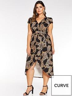 quiz-curve-chainanimal-print-wrap-front-midi-dress-blackgold