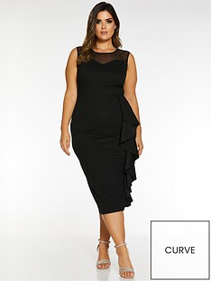 quiz-curve-quiz-curve-mesh-sweetheart-frill-midi-dress