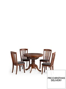 julian-bowen-canterbury-roundoval-90-120-cm-extending-dining-table-and-4-chairs
