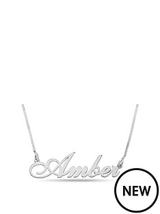 the-love-silver-collection-personalised-sterling-silver-script-name-necklace-on-belcher-chain