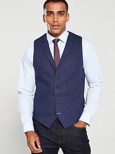 skopes-gisburn-herringbone-thorn-waistcoat-blue