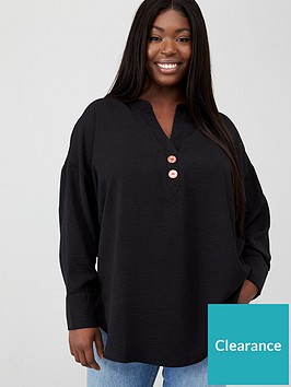 v-by-very-curve-button-dip-hem-blouse-black