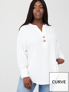 v-by-very-curve-button-dip-hem-blouse-ivory