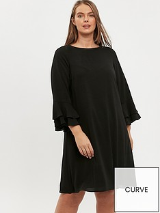 evans-frill-sleeve-dress-black