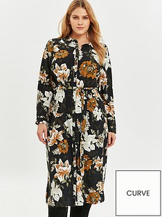 evans-black-floral-woven-shirt-dress