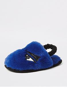 river-island-mini-mini-boys-faux-fur-monster-slippers-blue