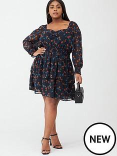 v-by-very-curve-shirred-waist-printed-dress-blackfloral