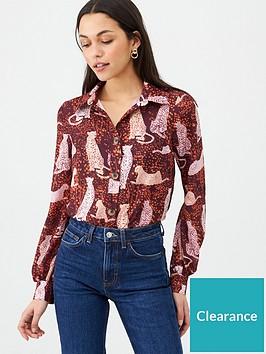 v-by-very-cat-print-button-through-shirt-print