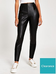 river-island-pu-ponte-mix-trouser--black