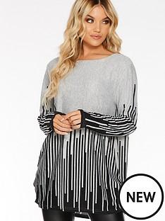 quiz-quiz-light-knit-border-stripe-print-long-sleeve-top